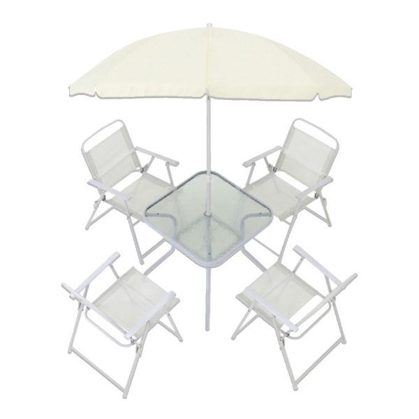 Conjunto Mesa com 4 Cadeiras e Guarda Sol Miami  Branco Belfix